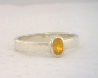 Yellow Sapphire Handmade Sterling 925 Silver Solitaire Stackable Ring size 7.25
