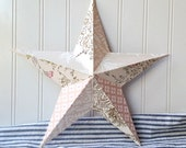 Wall star barn star vintage pink wallpaper collage metal star 12 inch home decor 3D Cottage Chic