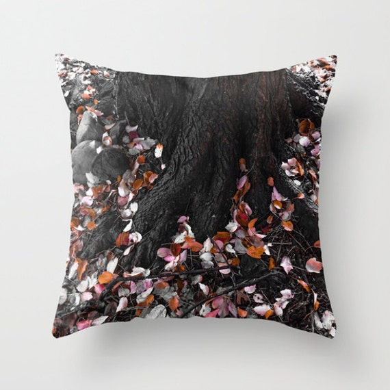 FALL Throw Pillow, Autumn Leaves Outdoor Pillow, Tree Patio Decorative Pillow, Leaf, Woodland, Nature, Colorful Forest, Botanical, Dorm