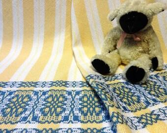Handwoven Baby Blanket - Baby Wrap - Woven Baby Blanket - Woven Baby Wrap - Blue Baby Blanket, Yellow Baby Blanket