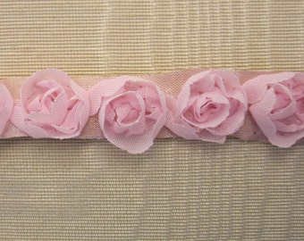PINK Rose Bud Fabric Ribbon Flower Trim Journal Scrapbook Doll Quilt Sewing Couture