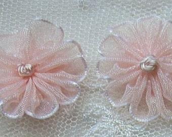 12 pc PINK Organza Ribbon Fabric Daisy Flower Applique Baby Doll Hair Accessory
