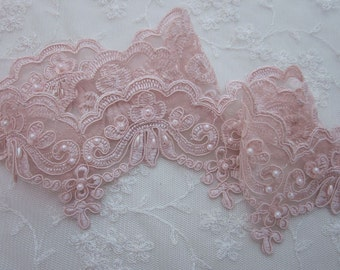 PEACH beaded flower lace trim embellished embroidered organza doll bridal with pearls sequins flowers