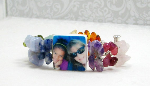 Gemstone Photo Charm Bracelet - P3B11GS