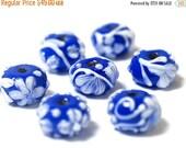 ON SALE 30% OFF Seven Royal Garden Rondelle Beads 10412001 - Handmade Glass Lampwork Beads