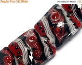 ON SALE 30% OFF Glass Lampwork Bead Set - Four Disco Night 1 Stardust Pillow Beads 10705714