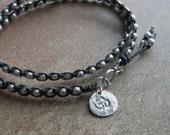 Beaded Double Wrap Waxed Irish Linen Bracelet with Om Charm