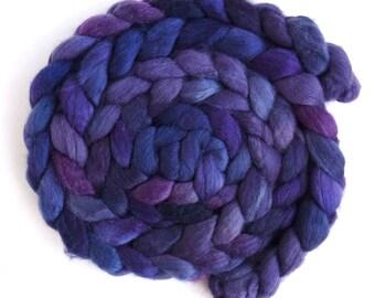 Pre-Order Colorway, 85/15 Polwarth/Silk Roving - Handpainted Spinning or Felting Fiber, Viola