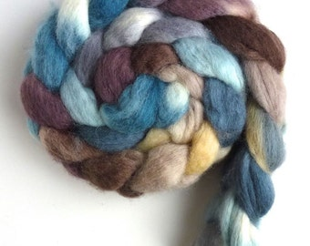 BFL Wool Roving - Hand Painted Spinning or Felting Fiber, Lost in the Rain