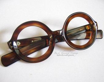 Thick 60's French Tortoise Round Beveled Eyeglasses Grunge Hipster Indie Alternative Eyewear Frames Glasses Made in France