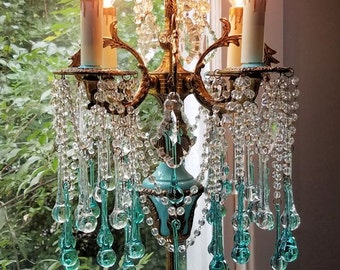 Antique French Empire Candelabra, Brass and Aqua Crystal Candelabra, Crystal Table Chandelier, Home Decor, Vintage Lighting