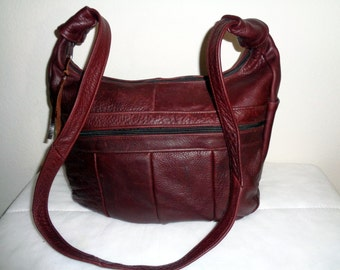 Vintage Larger size satchel bag purse thick rugged  genuine leather  pocket long strap deep  Bordeaux  awesome condition