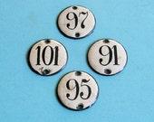 Vintage Enamel Porcelain Number Tag Tags Steampunk DIY Jewelry Tags 1930s Enamel House Number Tags