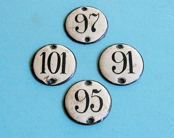 Vintage Enamel Porcelain Number Tag Tags Steampunk DIY Jewelry Tags 1930s Enamel House Number Tags