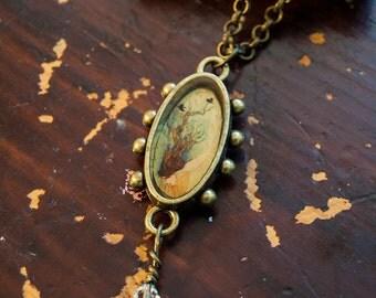 Fallen Pendant - Ornately framed mini jeweled necklace charm, tree goddess with ravens, wearable art, bronze finish, bridesmaids gift