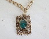Valentines Day Sale Vintage green rhinestone pendant necklace ornate Victorian revival