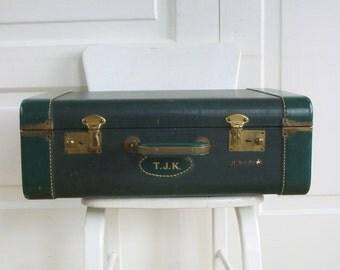 Vintage Green Suitcase, Green Luggage, Retro Suitcase, Industrial Storage, Monogrammed Suitcase