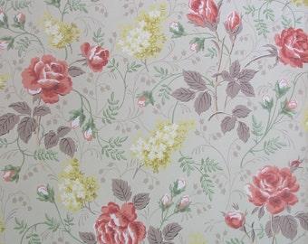 Vintage Wallpaper Red Roses Hydrangeas Flowers Shabby Cottage Chic Ephemera