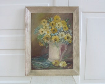 Vintage Floral Oil Painting, Art Canvas Flowers, Yellow Daisies Oil Painting, Sixties Shabby Cottage Chic Painting