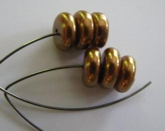Gold Pearl Vee Earrings, Gold and Gunmetal Vee Shaped Earrings