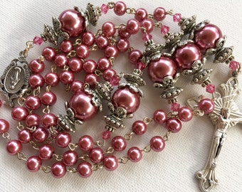 Handmade Rose Pink Pearl Catholic Rosary, Custom Rosaries, Pearl Rosary, Catholic Rosary, Made to Order Rosary, One of a Kind