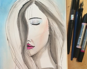 Just Breathe Print from Original Watercolour Fashion Illustration Inspirational Painting