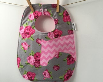 SALE! Horse Baby Gift - Pink Chevron Horse Baby Bib - Equestrian Baby Gift - Cowgirl Bib with Snaps - Oversize Toddler Bib with Snaps