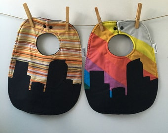 Denver Baby Gift - Denver Skyline Bib - Colorado Baby Shower Gift - Oversize Baby Bib with Snaps