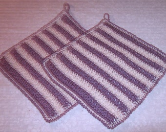 "Two Dish or Wash Cloths, Ecru, lavender, 9"" x 8"", size 3 crochet thread"