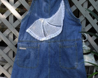 Lace and Denim Overall Jumper/ Washed Denim-Crochet-Lace Jumper/ L-1X Denim Jumper/ Sheerfab Funwear