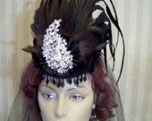 Steampunk Hat Victorian Hat Kentucky Derby Hat 1800s hat Halloween Hat Mini Riding Hat Black