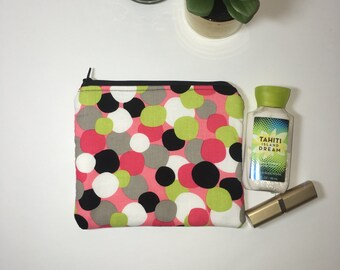 Small  Zipper Pouch, makeup bag, cosmetic bag, medium travel pouch, travel zipper pouch, gift idea