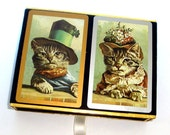 Vintage Deck of Cards, Two Decks, Boxed Set Congress Playing Cards, Lady and Gentleman Cats, Game Cards, Black Top Hat, Cat  Bonnet  (13-16)