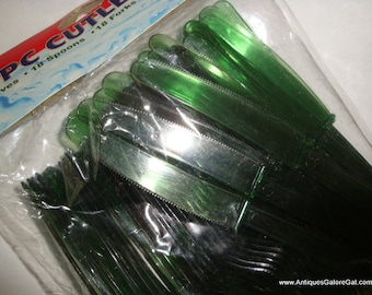 54 Piece Cutlery Set, Green Plastic Picnic Forks, Spoons, Knives, Retro Party Supplies, New Old Stock, Unopened Package  (09-16)