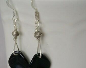 Minimalist Handmade Black Earrings, Sterling Silver Earrings, Geometric Earrings, Casual Geometric Jewelry, Little Black Dress, Gift for Her