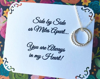 SISTER NECKLACE in Sterling Silver - Choice of POEM Card Included Jewelry for Sisters Connected Circles Sister Gift Wrapped & Ready To Ship!