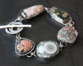 ocean jasper and sterling silver metalwork link bracelet