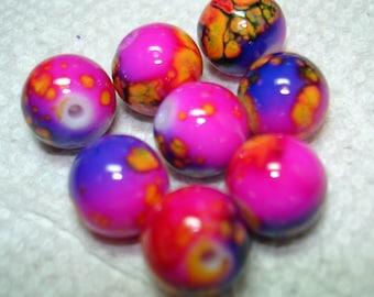 Pink Purple Orange Blue Splash Glass Round Beads (Qty 8) - B3120