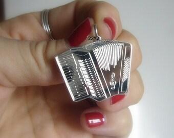 Custom accordion pendant ,sterling silver necklace, musician, musicians, acordeon ,initials engraved musica ,custom pendant, men