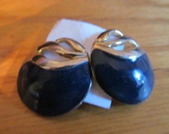 black and gold button earrings post