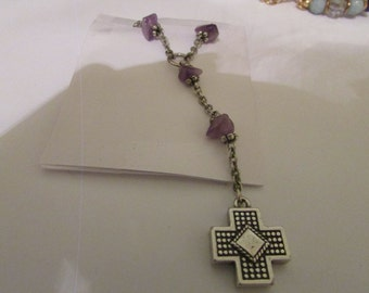 Amthyst  cross necklace