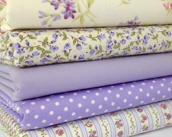 Fabric Bundle Lilac Time  5  fat Eighths tissu