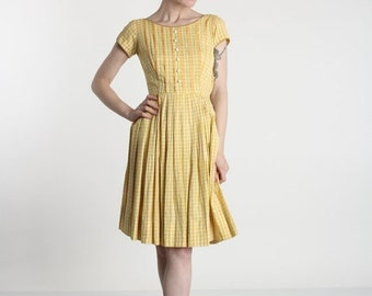 ON SALE 1950s Dress . BETTY Barclay . Yellow Mid Century Frock