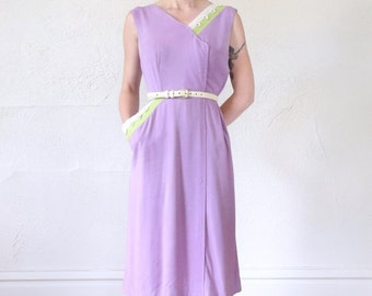 ON SALE Asymmetrical Linen Dress in Lavender and Lime