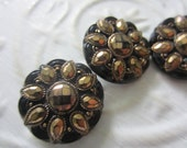 Vintage Buttons -  beautiful lot of 3 matching gold hand painting jet black glass, La Chic pressed design,  (aug 34b)