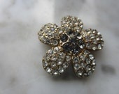 Vintage Button - 7/8 inch, beautiful flower design, gold finish metal, rhinestone embellished(lot oct 368)
