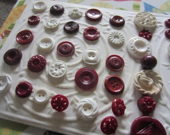 Vintage Buttons - Cottage chic mix of cranberry red and white lot of 59, old and sweet(apr 124b)