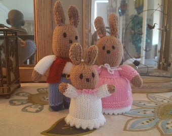 Beautiful Hand Knitted Bunny Family