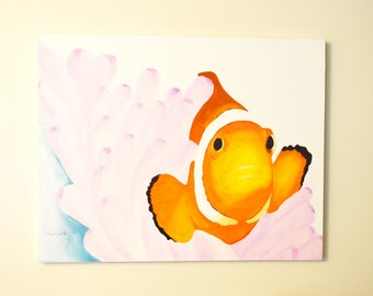 Clownfish Original Painting, gouache watercolor, large art on canvas, 22 x 28