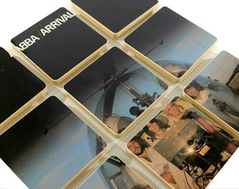 ABBA recycled Arrival music album cover wood coasters with wacky vinyl record bowl